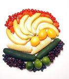 Fruit and vegetable rainbow. Fruit arrangement in rainbow colors stock photography