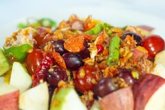 Fruit and vegetable salad. Fruit salad , spicy somtum tasty . red thai food good delicious royalty free stock image