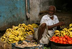 Fruit seller at the old town of Zabid, Yemen Royalty Free Stock Images