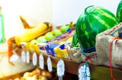 Fruit and vegetable shop counter Royalty Free Stock Images