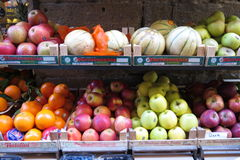 Fruit and vegetable shop counter Stock Image