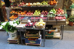 Fruit and vegetable shop counter Royalty Free Stock Image
