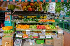 Fruit and vegetable shop Little India area stock photos