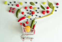 Fruit and vegetable shopping concept Stock Photos
