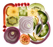 Fruit and vegetable slices stock photography
