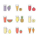 Fruit and vegetable smoothie (juice) in glasses vector concept. Menu element for cafe or restaurant. Healthy drink. Outl Stock Photography