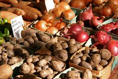 Fruit and Vegetable Stand. With Potatoes and Onions Stock Image