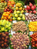 FRUIT AND VEGETABLE STAND. Image shows a fruit and vegetable market stand Stock Photos