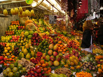Fruit and vegetable stand. A view of a large, colorful fruit and vegetable stand in Barcellona, Spain Royalty Free Stock Photography
