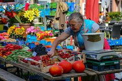 Fruit and vegetable stand at Farmer`s market in Freiburg stock photos