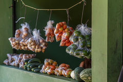 Fruit and vegetable stand from a market Royalty Free Stock Image
