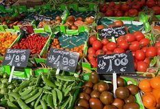 Fruit and vegetable stand in the market royalty free stock photo