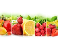 Fruit and vegetable stripe collection on white background Royalty Free Stock Photo