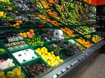 Fruit vegetable supermarket. Fruit and vegetable section at supermarket Royalty Free Stock Photos