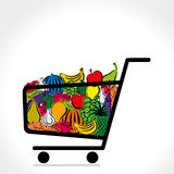 Fruit and vegetable trolley. Trolley full of fruit anf vegetable background vector Stock Images