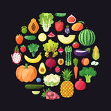 Fruit and vegetable vector circle background. Modern flat design. Stock Image