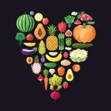 Fruit and vegetable vector heart background. Modern flat design. Stock Images