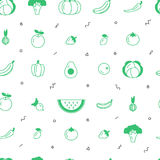 Fruit and vegetable vector seamless pattern with abstract elements on a white background. Healthy food design. Stock Images