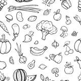 Fruit and vegetable, vegan food doodle, sketch vector seamless background Royalty Free Stock Photos