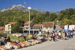 Fruit and vegetable vendors with local shoppers at an outdoor market, Jablanica, Bosnia and Herzegovina Stock Photo