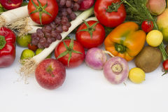 Fruit and vegetable. In white background Stock Photos