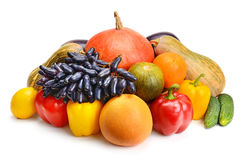 Fruit and vegetable on white background Stock Photography