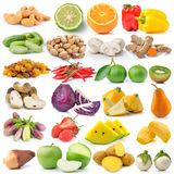 Fruit and vegetable on white background Royalty Free Stock Photos