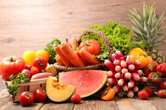 Fruit and vegetable. On wood background Royalty Free Stock Photography