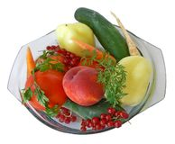 Fruit and vegetables 1. Some fruits and vegetables rinsed in a bowl of water Stock Images