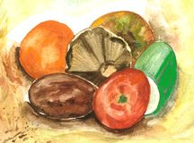 Fruit and vegetables. A scan of my own artwork Stock Photo