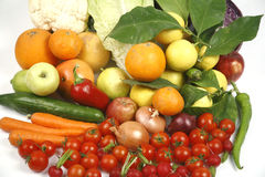 Fruit and vegetables. Healthy fruits and vegetables to feed Stock Photos