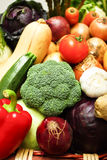 Fruit and vegetables. Pile of assorted ripe fruit and vegetables stock photos