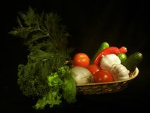 Fruit and vegetables. At a market stand stock photography