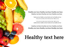 Fruit and vegetables. Assortment with a place for text Stock Photos