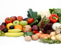 Fruit and vegetables. Large display of various fruit and vegetables Royalty Free Stock Image