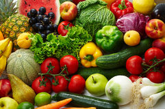 Fruit and vegetables. Group of different fruit and vegetables 1 Stock Images