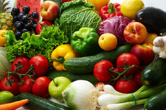 Fruit and vegetables. Group of different fruit and vegetables 1 Stock Photos
