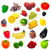 Fruit and vegetables. On white background Stock Photos