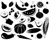 Fruit an vegetables. Black-and-white silhouettes of fruit and vegetables Stock Photography