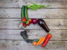 Fruit and vegetables arranged into a number 5, showing 5 a day Royalty Free Stock Image