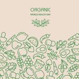Fruit and vegetables background illustration. Organic world health day. Fruit and vegetables background illustration Stock Images