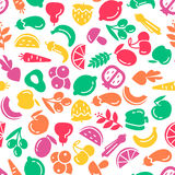 Fruit and vegetables background seamless pattern Royalty Free Stock Photos
