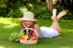 Fruit and vegetables in the basket stock photo
