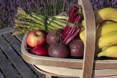 Fruit and vegetables in basket Royalty Free Stock Photography