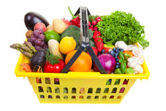 Fruit and vegetables basket Stock Photos