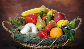 Fruit and vegetables basket Stock Image
