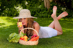 Fruit and vegetables in the basket with his wife Royalty Free Stock Photo