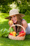 Fruit and vegetables in the basket with his wife. Fruit and vegetables in the basket Royalty Free Stock Photos
