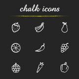 Fruit and vegetables chalk icons set vector illustration