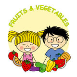Fruit and vegetables. Child with fruit and vegetables Royalty Free Stock Images